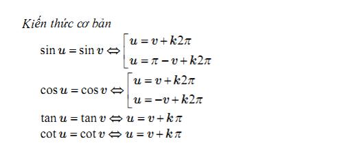 Kiến thức cơ bản công thức nghiệm với phương trình lượng giác